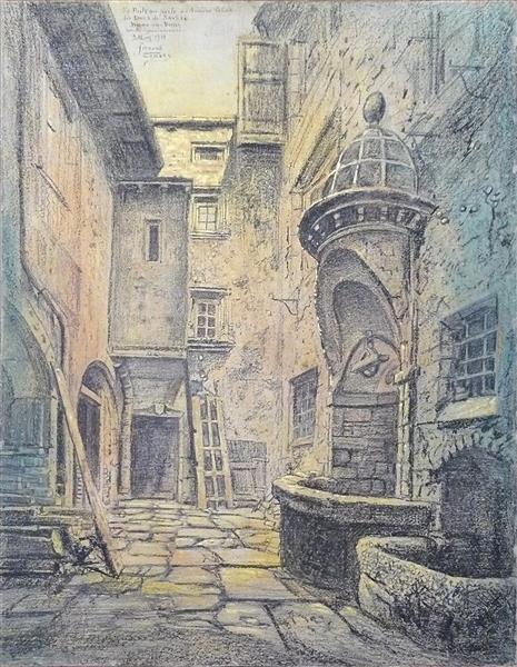 Le Puits Qui Parle Des Anciens Palais Des Ducs De Savoie, Bourg En Bresse, Rue Du Gouvernement, 1919 - Fernand Combes