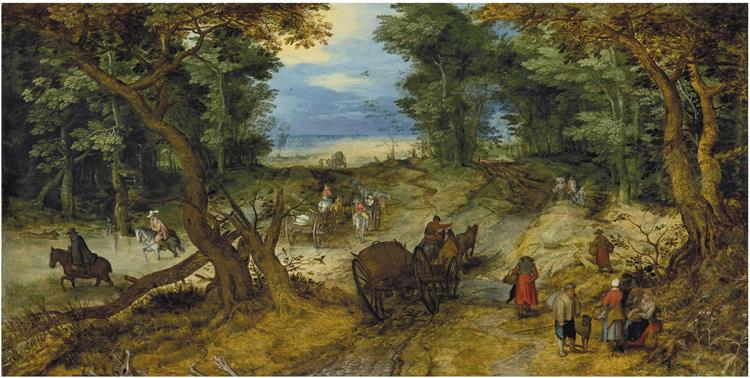 A wooded landscape with travelers on a path, c.1607 - Jan Brueghel the Elder