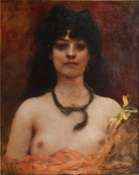 Portrait of a Nude Lady, Bust Length - Benjamin Constant