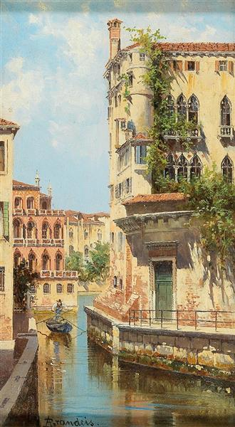 Canal in Venice with View of the Back of the Palazzo Rocca, 1926 - Antonietta Brandeis