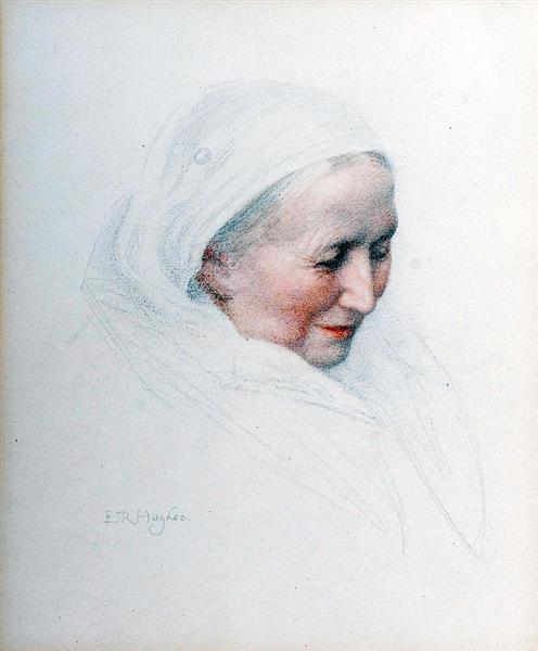 Woman in a Shawl - Edward Robert Hughes