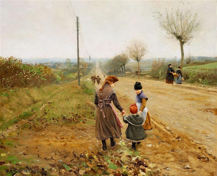 Children on a Country Road (The First Steps), 1892 - Hans Andersen Brendekilde