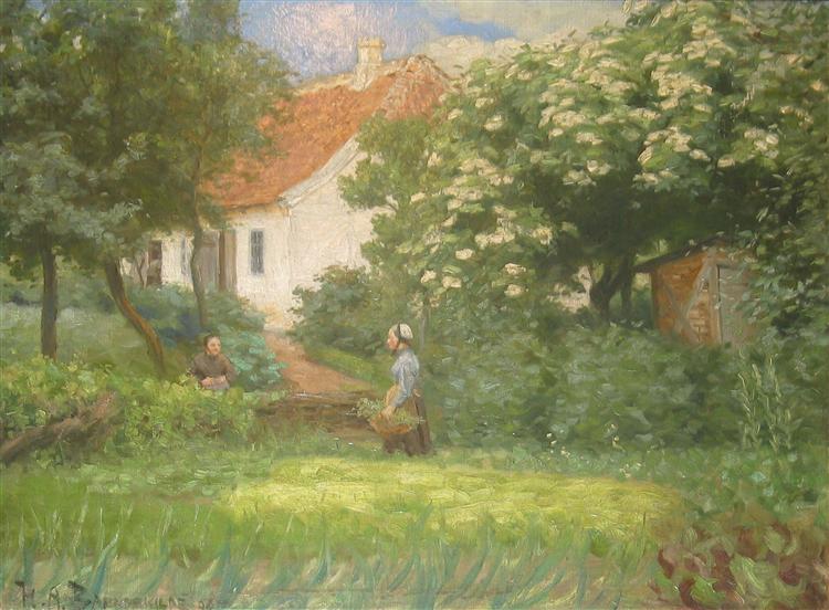 Sommerdag I Haven. to Kvinder I Samtale Ved Blomstrende Kastanjetræ, 1892 - Hans Andersen Brendekilde