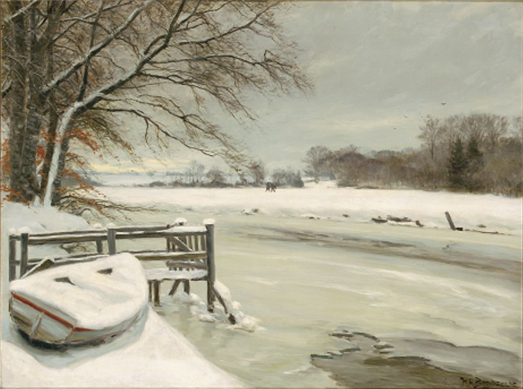 Vinterdag Ved Åen, I Baggrunden Vender Jægerne Hjem - Hans Andersen Brendekilde