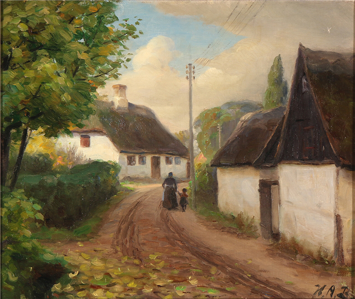 A Village Road with a Woman and Child Walking Hand in Hand - Hans Andersen Brendekilde