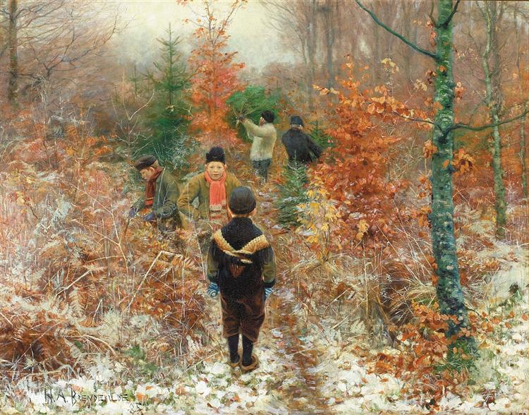 Juletræsfældning, 1885 - Hans Andersen Brendekilde