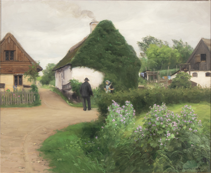 Scenery from a Village with Persons in Conversation, 1923 - Hans Andersen Brendekilde