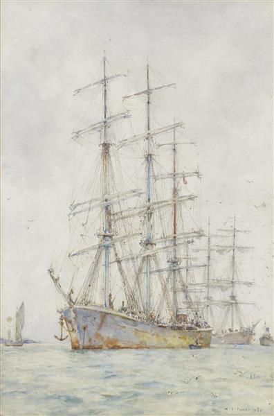 Windjammers at anchor - Henry Scott Tuke
