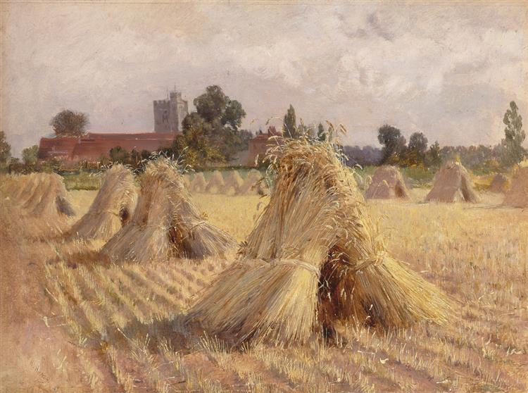 Corn Stooks by Bray Church, 1872 - Heywood Hardy