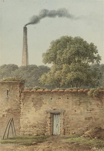 Wall with Distant Smokestack - Jean-Joseph-Xavier Bidauld