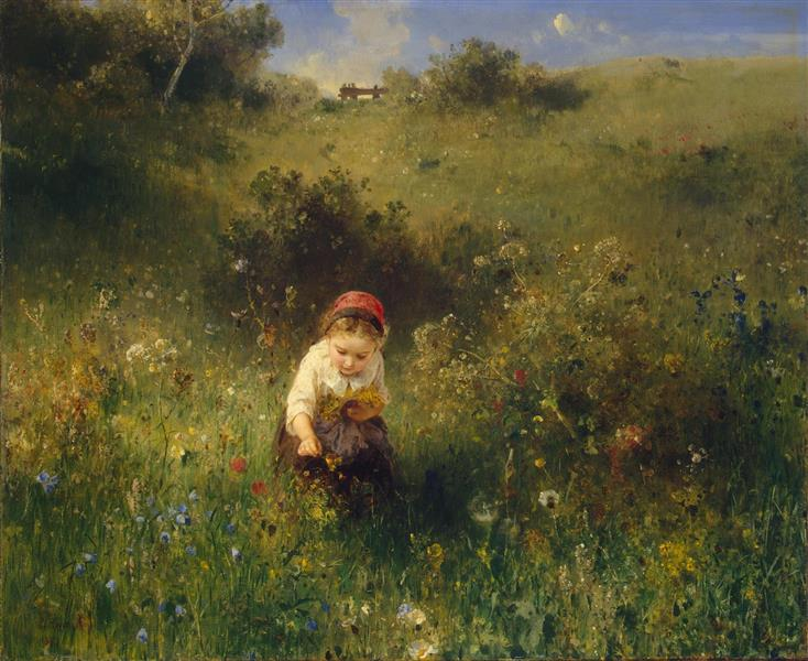 The Girl in the Meadow, 1857 - Ludwig Knaus