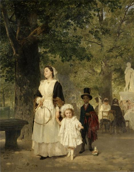 Promenade in the Tuileries Gardens - Ludwig Knaus