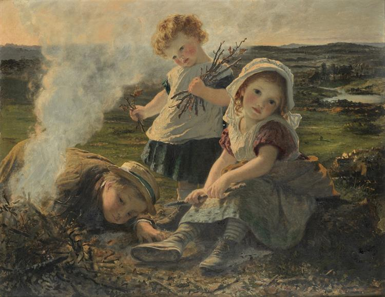 The Bonfire - Sophie Gengembre Anderson