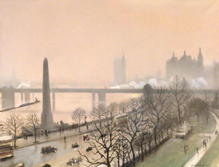 Victoria Embankment, London, 1924 - C. R. W. Nevinson