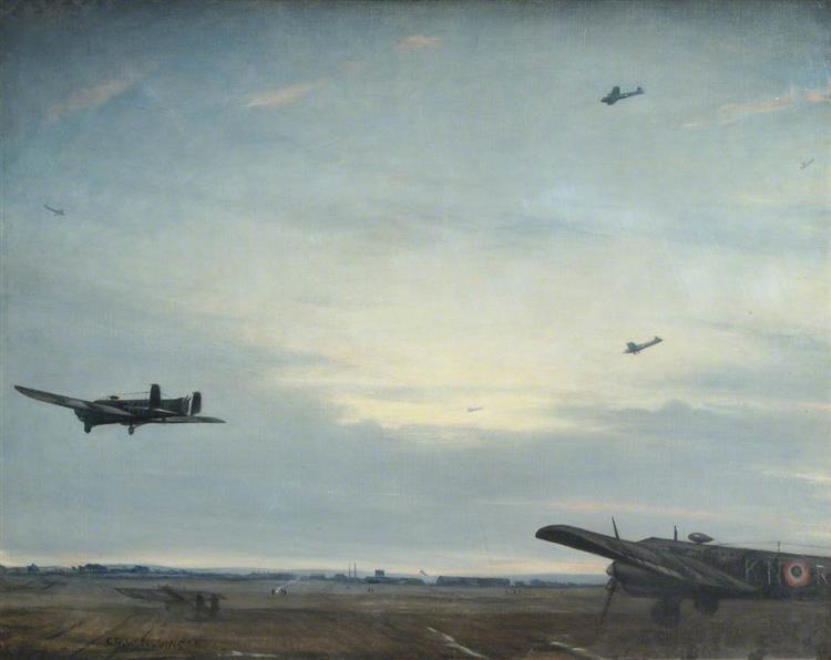 Whitley Bomber. Dawn Return, 1940 - C. R. W. Nevinson