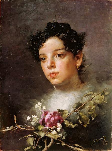 Joven Con Flores, 1887 - José Santiago Garnelo y Alda