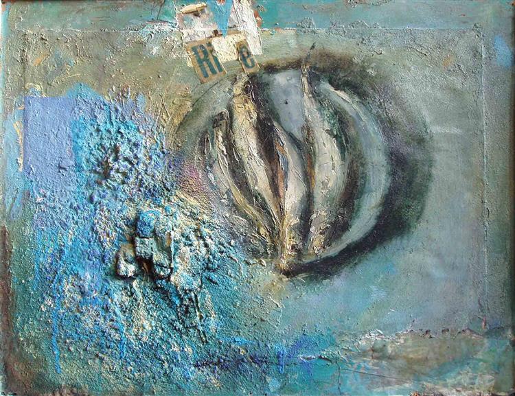 Fish on the blue metal plate, 2002 - Vjeran Čengić