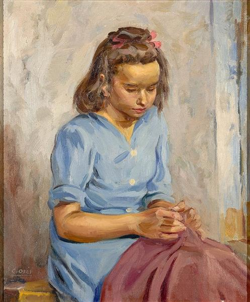 Niña cosiendo - Carmen Osés Hidalgo