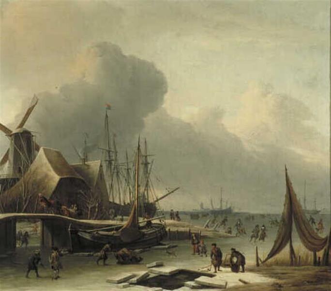 Hollandse Haven in De Winter - Abraham Storck