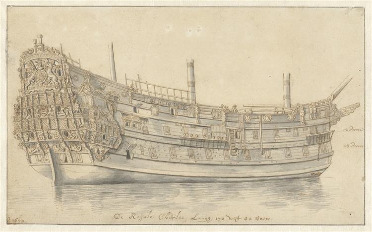 Schip De Royal Charles, 1672 - Abraham Storck
