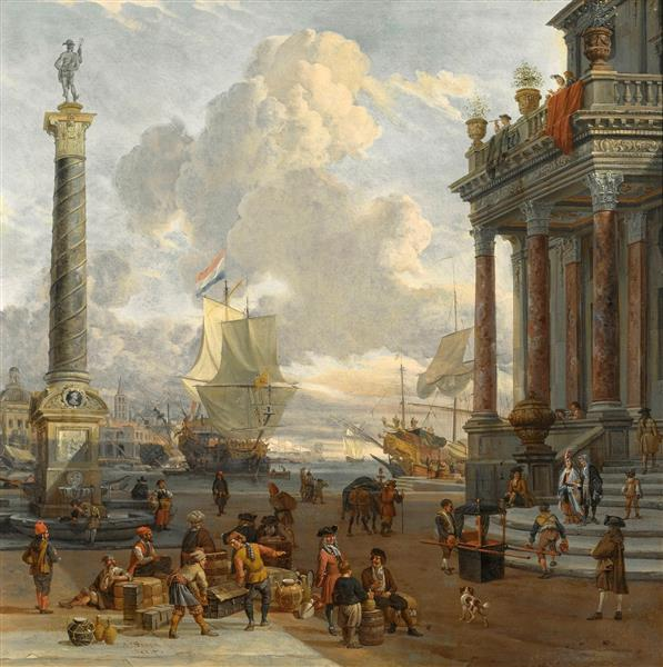Southern Harbour Scene with Merchants - Abraham Storck
