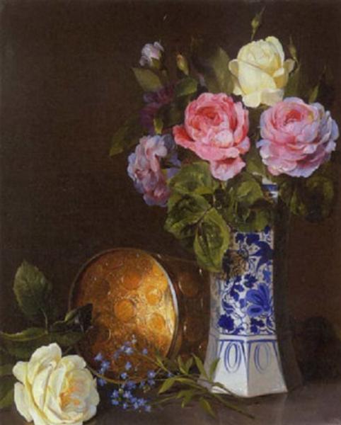Blumenstillleben, 1849 - Adalbert Schaffer