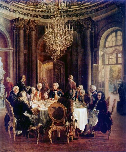 Voltaire in the Court of Frederick II of Prussia - Adolph Menzel