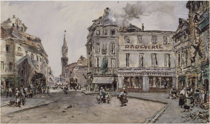 View of a square in Avignon, with a hardware store, 1880 - Johan Jongkind