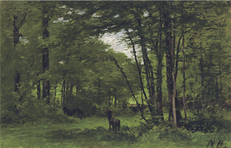 The Boundary Fence, Forest of Fontainebleau, c.1868 - Nathaniel Hone the Younger