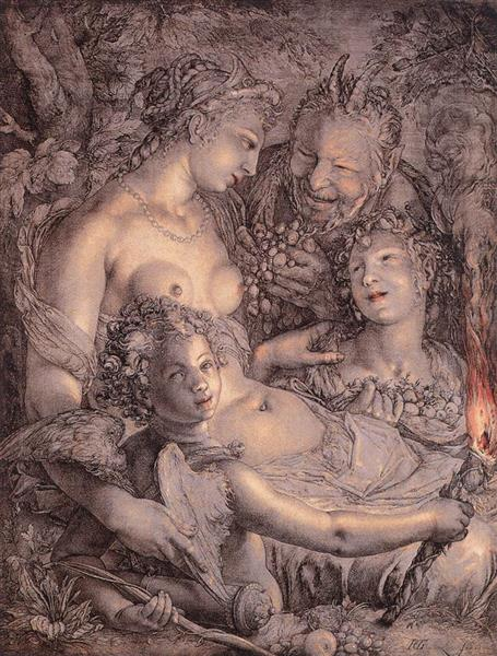 Without Ceres and Bacchus, Venus Would Freeze, 1599 - 1602 - Hendrick Goltzius
