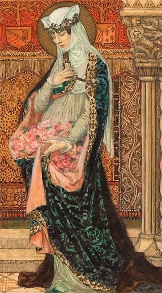 Portrait of a Renaissance Woman Holding Roses - Elisabeth Sonrel