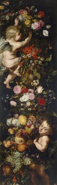Festoon of Flowers and Fruits and Cherubs - Jan Brueghel the Elder