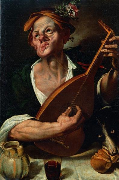 Grotesque Man who plays a Lute, 1580 - Bartolomeo Passarotti