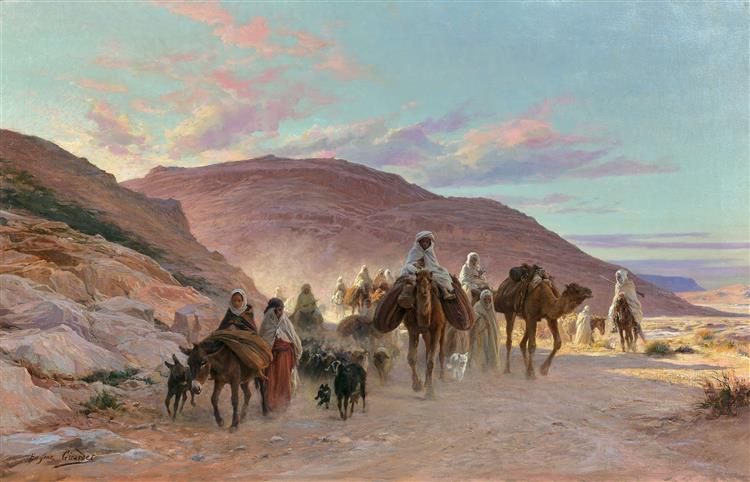 La caravane de Yaghmurassen et les membres du clan des Zaouad-Jinns : Girardet-une-caravane-dans-le-d-sert.jpg!Large