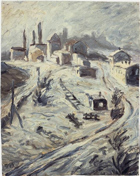 Site With Train Tracks and Houses, 1916 - Walter Gramatté
