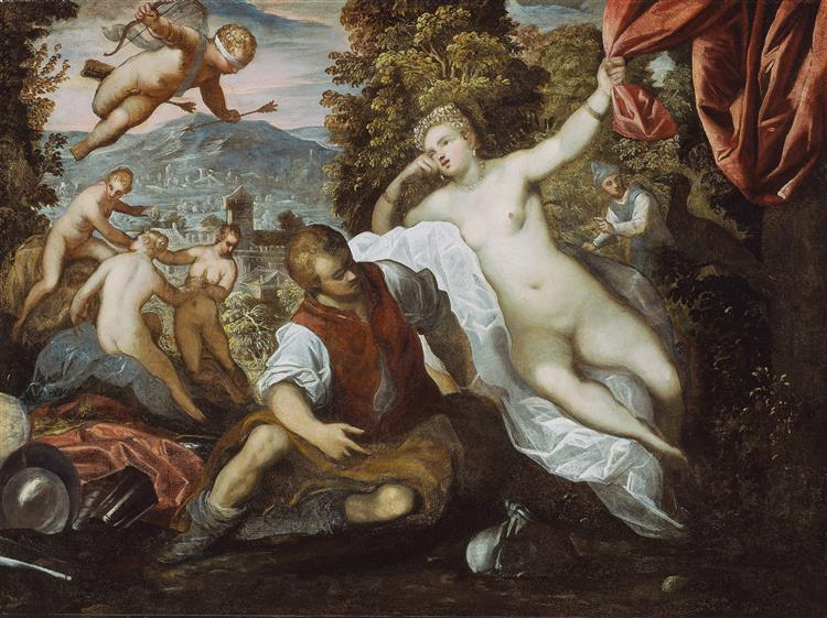 Venus and Mars with Cupid and the Three Graces in a Landscape - Domenico Tintoretto