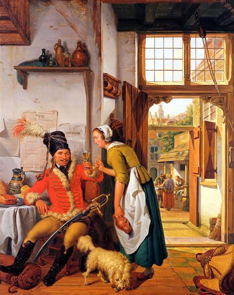 Interior with soldier and maid - Abraham van Strij