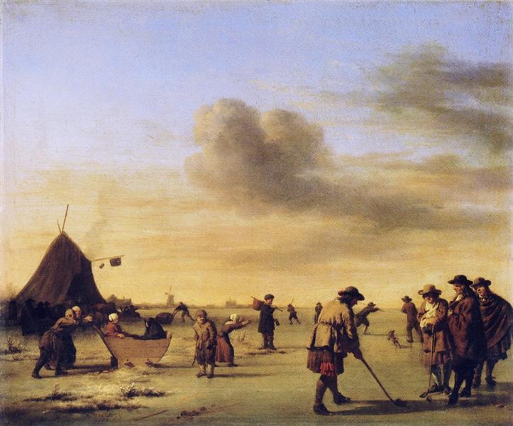 Golfers on the Ice near Haarlem, 1668 - Adriaen van de Velde