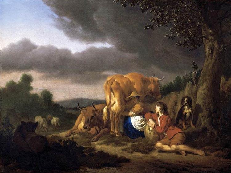 Milking a Cow, 1666 - Adriaen van de Velde