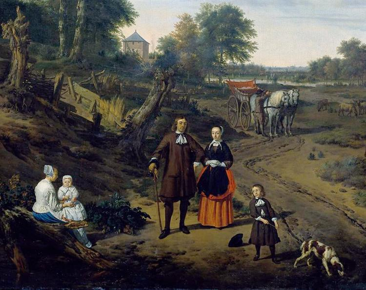 Portrait of a couple with two children and a nursemaid in a landscape (detail), 1667 - Adriaen van de Velde