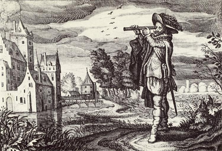 "Early depiction of a ""Dutch telescope"", 1624 - Adriaen van de Venne"