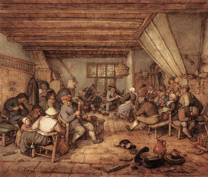 Feasting Peasants in a Tavern, 1673 - Adriaen van Ostade