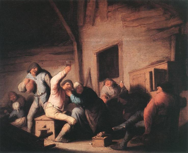 Peasants in a Tavern, c.1635 - Adriaen van Ostade
