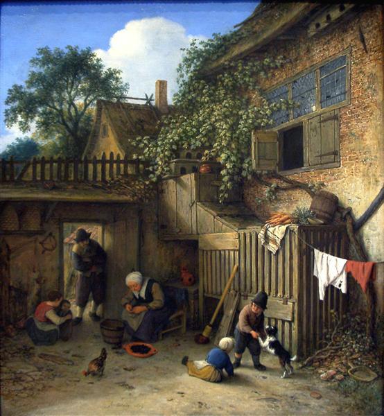 The Cottage Dooryard, 1673 - Adriaen van Ostade