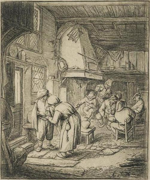 The Peasant Settling His Debt, c.1644 - Adriaen van Ostade