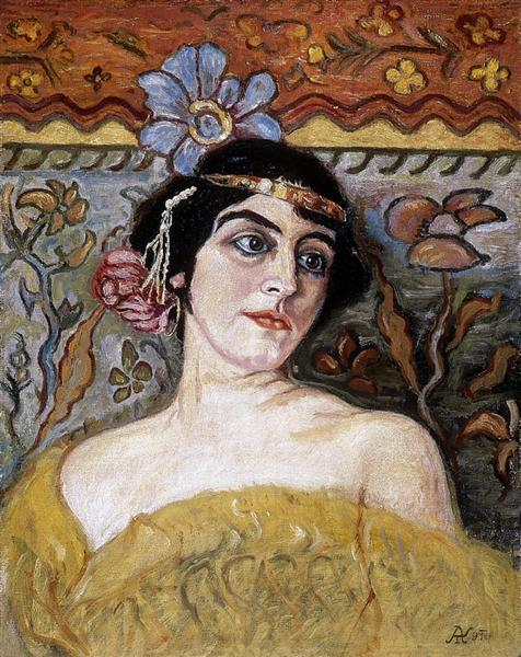 Lady with Tiara - Aladar Korosfoi-Kriesch