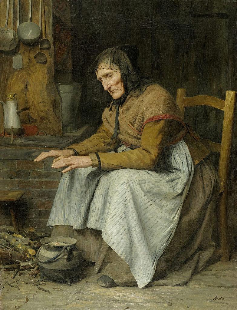 Hohes Alter II (alte Frau sich aufwärmend), 1885