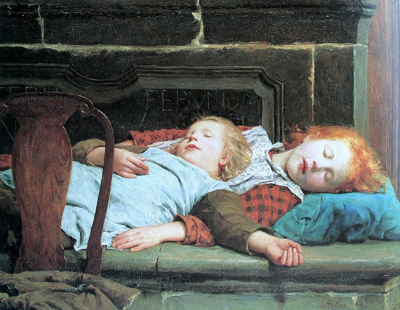 Zwei schlafende Mädchen auf der Ofenbank, 1895