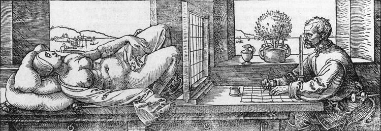 Draughtsman Drawing a Recumbent Woman, 1525 - Albrecht Durer
