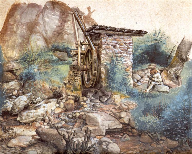 Watermill at the montaсa, 1489 - 1490 - Albrecht Durer